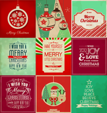 vintage christmas background set vectors