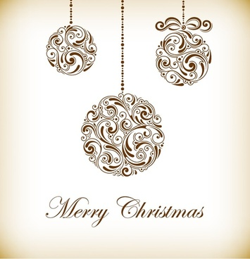 vintage christmas balls vector illustration