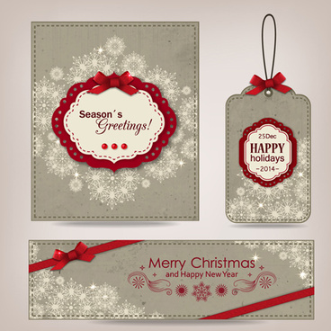 Elegant Vintage Christmas Card With Banner And Tag Vector