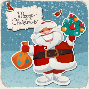vintage christmas cartoon card vector