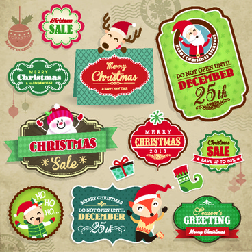 vintage christmas elements and labels vector