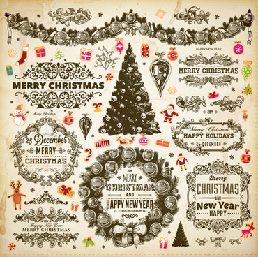 vintage christmas frame and ornaments vector