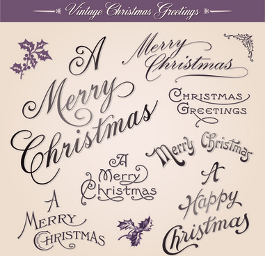 vintage christmas greetings design elements vector