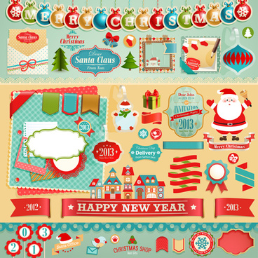vintage christmas labels and elements vector set