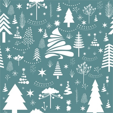 vintage christmas pattern with various fir trees decoration