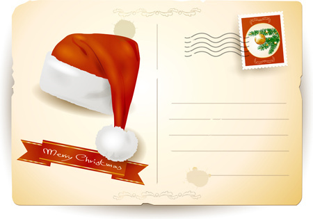 vintage christmas postcard design vector