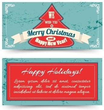 vintage christmas tree ribbon cards vector