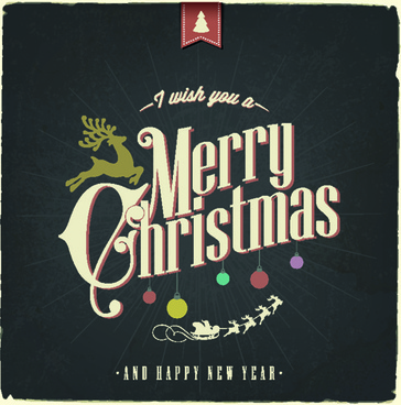 vintage christmas typography vector background