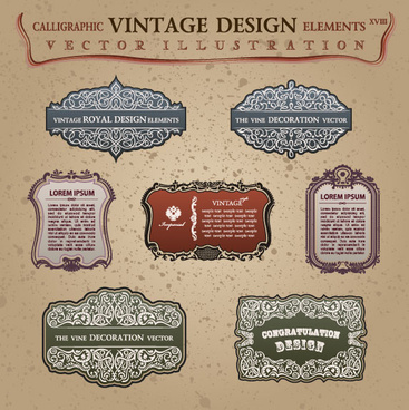 vintage classic borders vector