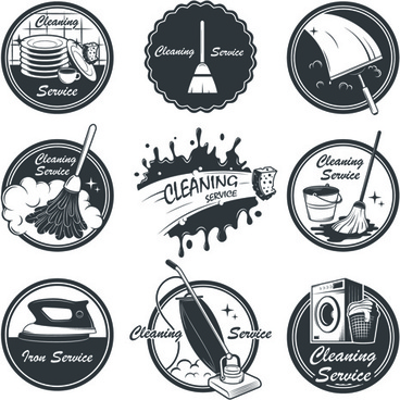 vintage cleaning service labels vector