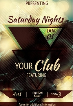 vintage club flyer cover creative vector