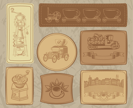 vintage coffee cards with labels vector set