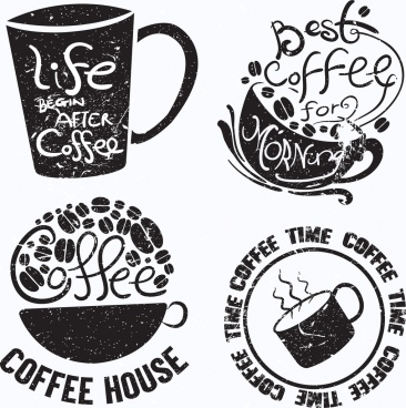 vintage coffee logotypes cup icon texts decor