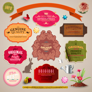 vintage color labels vector art
