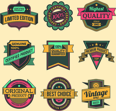 vintage colored label high quality vector