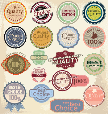 vintage colored labels design
