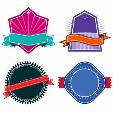 vintage colored labels with ribbon vectors