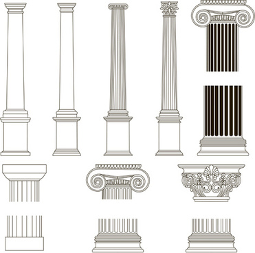 vintage columns design elements vector