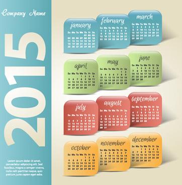 vintage company15 calendar creative vector