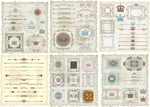 vintage crown borders with frame vector