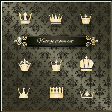 vintage crown vector set