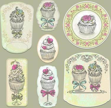 vintage cupcakes labels creative vector