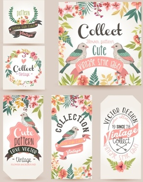vintage cute bird cards vectors