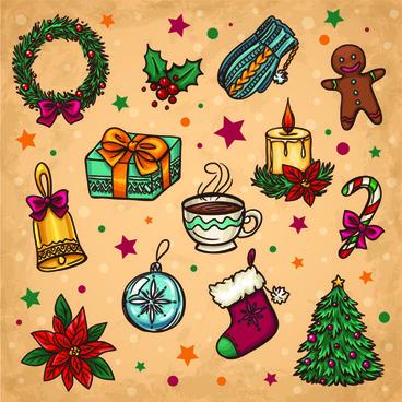 vintage cute christmas design elements vector set