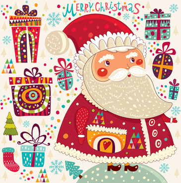 vintage cute santa background vector