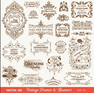 vintage deco labels and banners vector