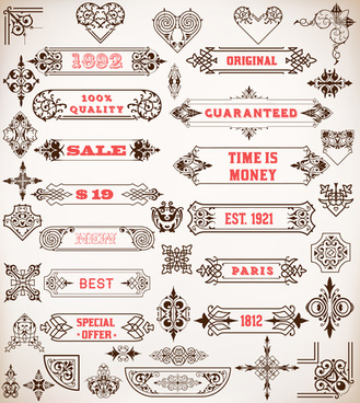 vintage decor and frames set vector