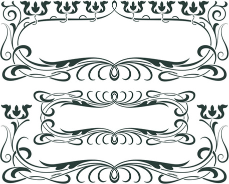 vintage decor borders with frames design vector