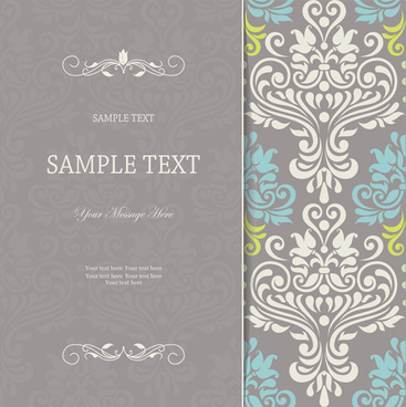 vintage decor pattern invitation cards vector