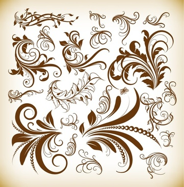 vintage decoration design elements vector illustration set