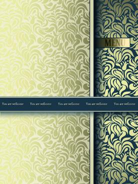 vintage decorative pattern restaurant menu cover vector