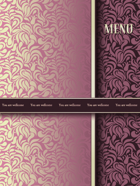vintage decorative pattern restaurant menu cover vector