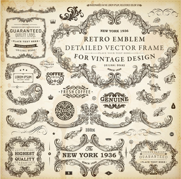 vintage design elements frames and ornaments vector