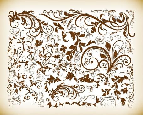 vintage design floral elements vector illustration set