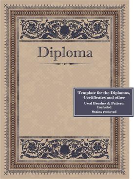 vintage diplomas design cover template vector
