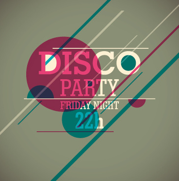 vintage disco party poster flyer design vector