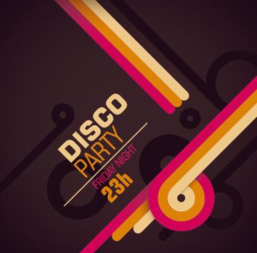 vintage disco party poster flyer design vector