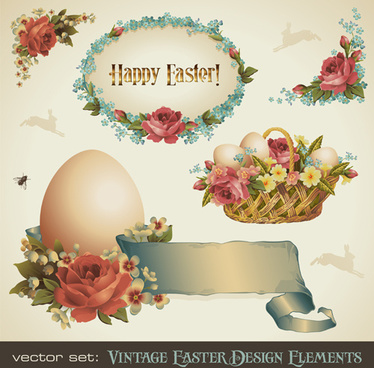 vintage easter decorate illustration vector
