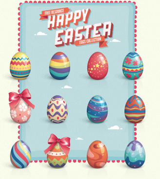vintage easter eggs design vector