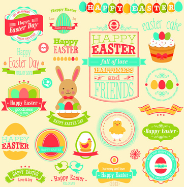 vintage easter elements vector