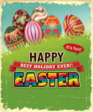 vintage easter holiday poster vector set