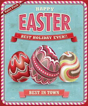 vintage easter holiday poster vector set