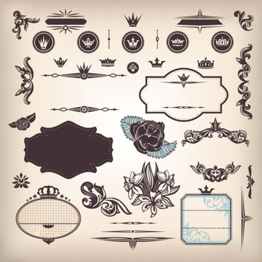 vintage elements borders and labels vector