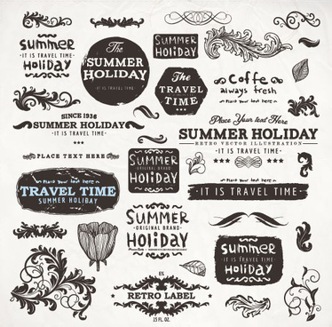 vintage elements labels and borders vector