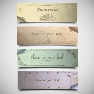 vintage elements of banner vector