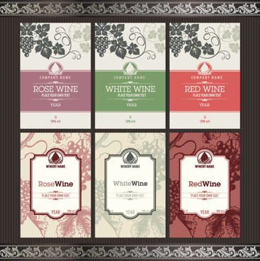 vintage elements of wine labels vector